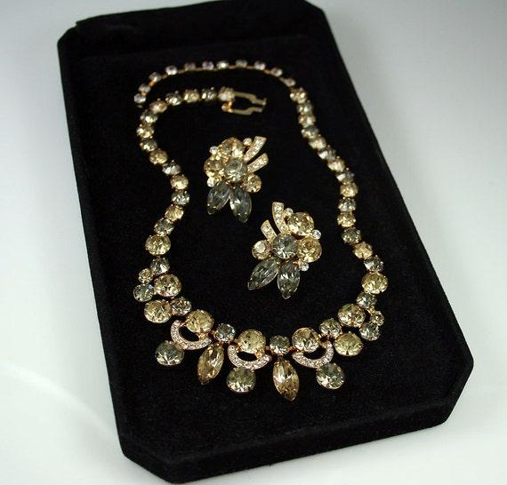 Vintage Necklace Earrings Eisenberg Ice Citrine Smoke Rhinestone Jewelry