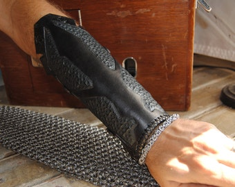 Black leather cyberpunk/steampunk bracer