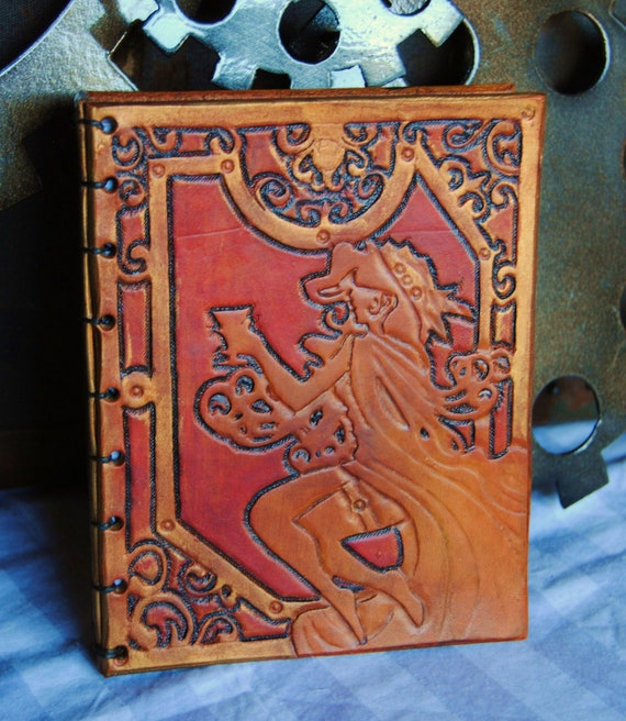 Hand-bound leather journal - art nouveau lady