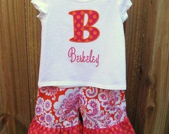Ruffled Capri Pants and Shirt set- Ruffled Pants Set- Applique Shirt and Pants set- Personalized Pants Set