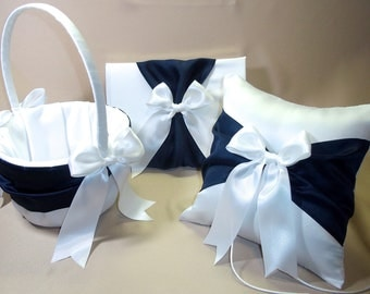 3 Piece White or Ivory  Wedding Ring Bearer Pillow,  Flower Girl Basket, Guest Book Navy Blue Accent