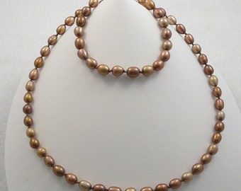 4 pc bronze brown chocolate freshwater pearl jewelry set necklace bracelet 2 pairs earrings gold filled knotted on silk