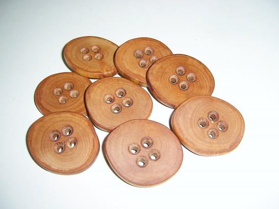 "8 Handmade  apple  wood buttons, accessories (1,57"" diameter x 0,24"" thick)"