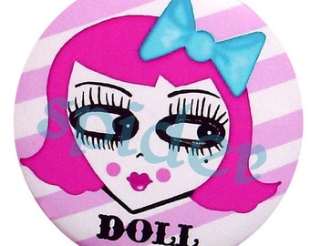 Miss Pinky Pink Doll Button Candy Striped 225 inch Buttons Pin