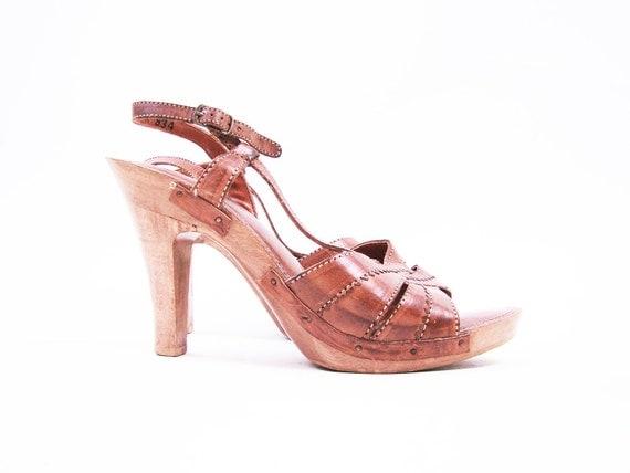 Vintage 70s Wood Heel Brown Leather Platform Heels Size 10 // 70s Heels