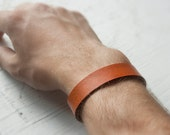 Leather Bracelet - Simple. Plain leather band with a snap closure - Made to your custom size and color