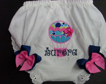 Custom Bloomers..HOT AIR BALLOON bloomers ..any color...any theme...diaper cover...dress up..matches tutu set