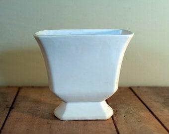 vintage white pottery vase