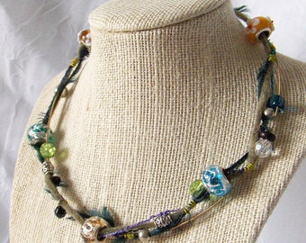 OOAK Shabby Strands Statement Necklace - Guitar String - Green Tones - SSC9