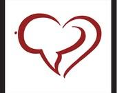 Love in Arabic - matted heart illustration