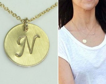 Gold Initial Charm Necklace-Fancy Monogrammed Print