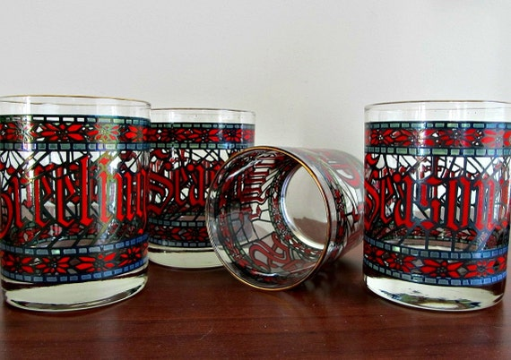 Vintage Christmas Glasses by Houze - Set of 4