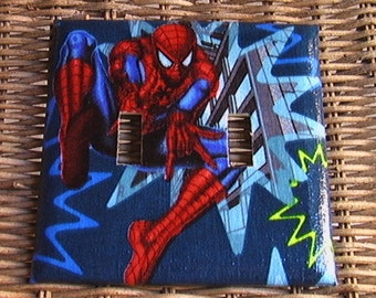 Spiderman Set Double Switch Plate Cover and 3 Outlets includes child safety plugs