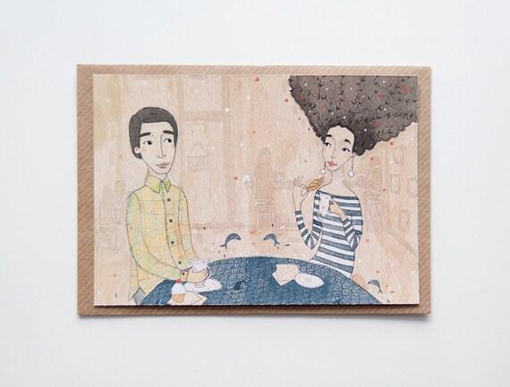 Girl and Boy Postcard