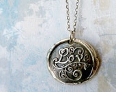 Love. Wax Seal Necklace. Large Fine Silver Pendant. Sterling Silver Chain. Artisan Handmade Jewelry