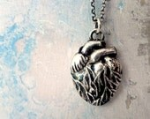 Anatomical Heart Silver Pendant Necklace. Solid .999 Pure Fine Silver. Sterling Silver Chain. Handmade Anatomical Heart Jewelry.