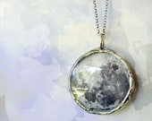 Full Moon Necklace. Sterling Silver Rollo Chain. Large Double Sided. Moon. Artisan Jewelry