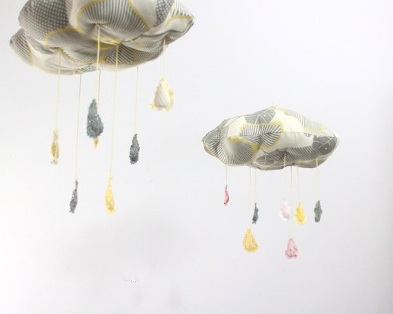 Fabric Cloud Mobile - Nursery Decor for Children in gray, sunny yellow, blush pink, and white fabric