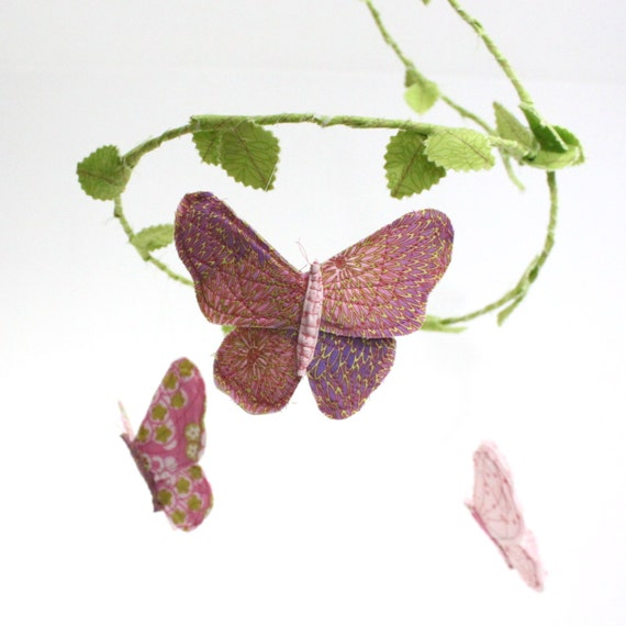 Butterfly Nursery Mobile - handmade fabric mobile for child's nursery decor in rose pink, lilac, snow white, bright green