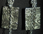Antique Silver Square and Chain Earrings Jewelry