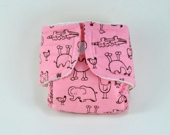 Baby Doll Diaper - Pink Zoo - Size Large