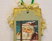 Santa at Window Vintage Art Wooden Christmas Ornament OOAK