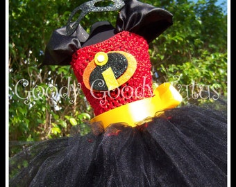 INCREDIBLY DASHING Incredibles Inspired Tutu Dress with Sparkly Felt Eyemask - Small 12/18mos