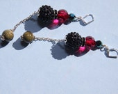 "4"" 1/4 L  Black Rhinestone Olive Green Porcelain Raspberry Acrylic duster / dangle earrings"