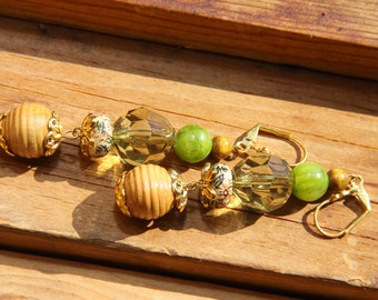 """3"""" L Olive color Jade stone, porcelain, wood, acrylic, dangle,  Orient inspired earrings"""