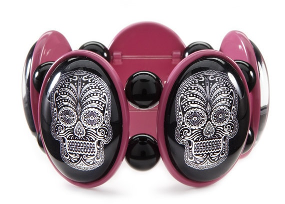 SALE - Sugar Skull Stretch Bracelet in Pink