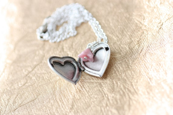 RESERVED for Lauren - Heart Locket Necklace with Your Choice of Flower - Summer SALE