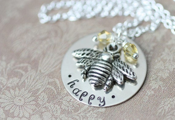 LAST ONE - Bee Happy Handstamped Silver Necklace - Rehab Recovery Gift - Get Well Soon