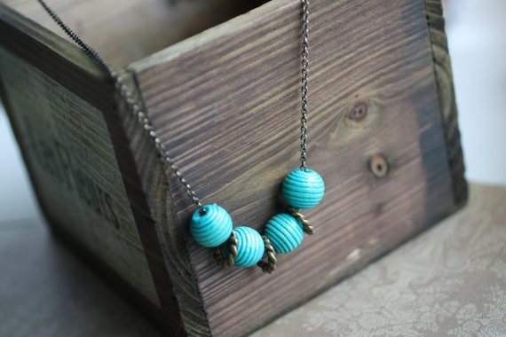 SALE - Beaded Wooden Necklace in Teal