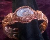 OVER THE RAINBOW Iridescent Glitter Drusy Quartz Copper Adjustable Bracelet