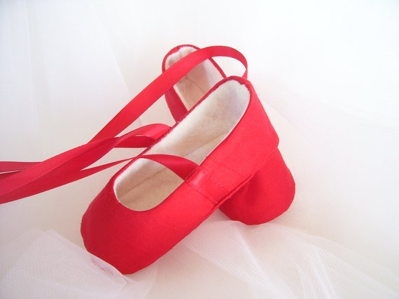 Red Silk Ballet Shoes Handmade Booties Slippers Flats for Baby Girl . Valentine Gift Idea