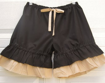 Black and tan bloomers with wide ruffles