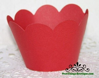 Red Scalloped Cupcake Wrappers Wraps 12