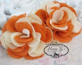New to the shop: Tattered Treasures Dominique vintage style two tones color flax fabric flowers - Orange Ivory