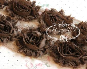 1/2 yard Chiffon Shabby Rose Trim, Hair Bow. 2 1/2 inch- Chiffon Rossettes Trim in DARK Brown, Hair Bow