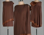Vintage 1960s Dress . Brown Crepe Chiffon . Sheath . Mod . Bow . M/L . 1821