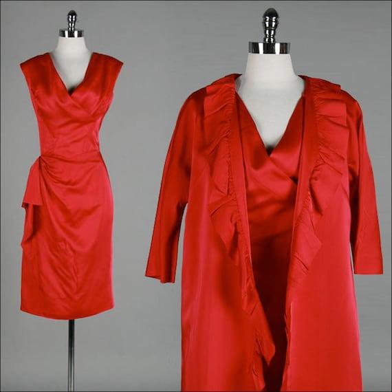 Vintage 1950s Dress . Satin Pink . Matching Jacket . M/L . 1920