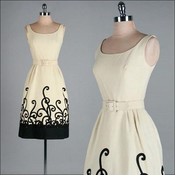 Vintage 1950s Dress . Black . Ivory . Linen . XS . 1912