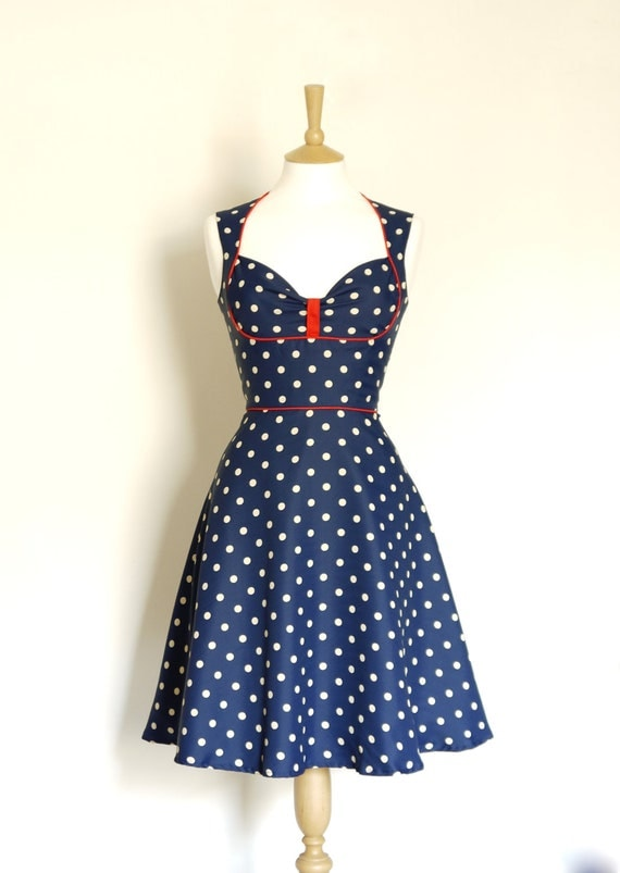Size UK 6 (US 2) Navy Polka Dot Bustier Tea Dress- Made by Dig For Victory