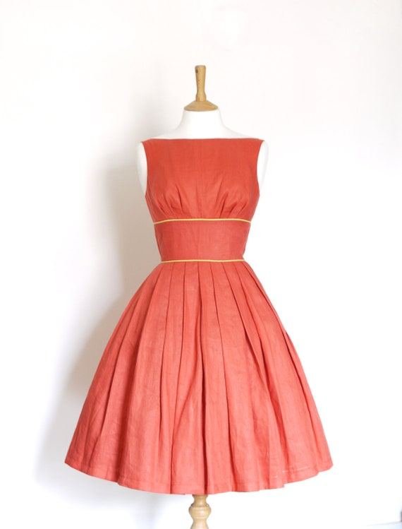 Terracotta Red Linen Tiffany Prom Dress - Made by Dig For Victory