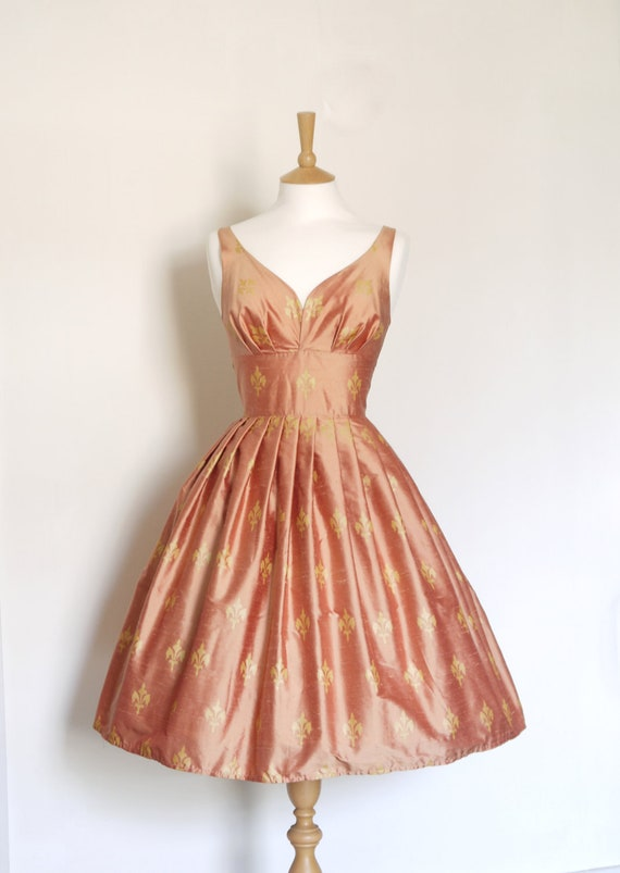Size UK 12 (US 8-10) - Antique Pink and Gold Fleur de Lis Pure Silk Dupion Prom Dress - Made by Dig For Victory