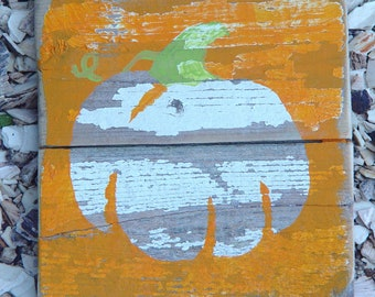 Fall Pumpkin Decoration on Reclaimed  Fencing Wood