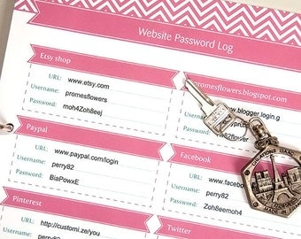 Password Log Organizer Tracker, Printable Editable PDF, for Letter and A4 Paper, Instant Download