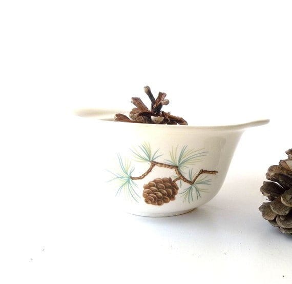 French Ceramic Sugar Bowl 1950s Folk Pottery Country Cottage: Vintage Stoneware Pinecone Bowl. Serving Bowl. By