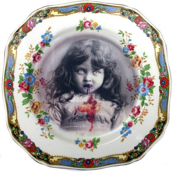 SALE - Lucy the Zombie Girl Portrait  - Altered Vintage Plate