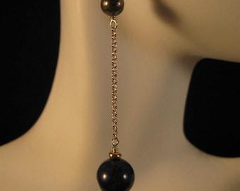Long Gemstone Dangle Earrings,drop earrings,gemstone earrings,gemstone jewelry,silver earrings,lapis earrings,pyrite earrings, lapis lazuli